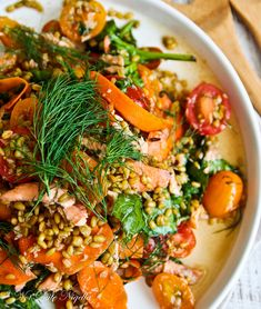 Farro, pickled carrot and trout Salad- could use salmon