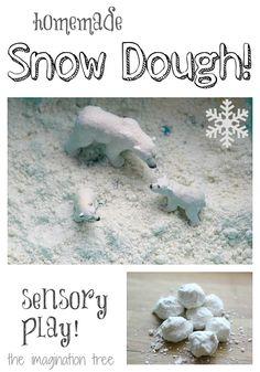 Snow Dough Recipe for Winter Sensory Play!