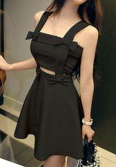 Cutout Waist Dress - Black