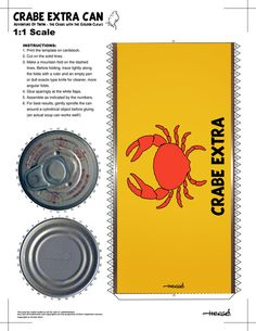 ' Crabe Extra Can Papertoy ' [ Tintin and the Crabs with the Golden Claws ] Diy Craft Projects, Diy And Crafts, Arts And Crafts, Paper Crafts, Comic Art, Comic Book, Party Printables, Crabs, Card Stock