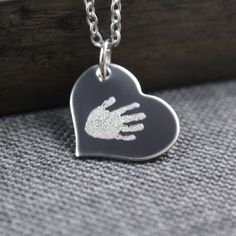 0b57513be96b72 Engraved Baby Handprint Heart Necklace, Actual Baby Handprint Necklace, Personalized  Jewelry, Personalized Necklace