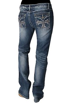 Zenim Ladies Cross and Crystals Boot Cut Jeans - Plus Sizes Available