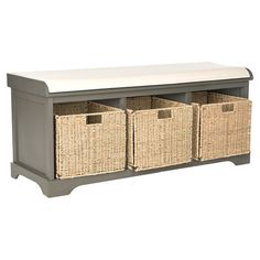 Stow hats and gloves in your mudroom or books and magazines in the den with this elegant storage bench, showcasing 3 charming baskets crafted of woven wicker...