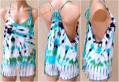 Tie Dye Tshirt, Beach Tie Dye Tank Top, Beaded Fringe Dyed Shirt, Sexy Shirt, Tie Dye Bikini Cover, Beach Coverall, Sleeveless, Adjustable by Sunjunki on Etsy