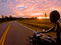 GoPro athlete Tucker Perkins catches the sunrise on a motorcycle ride before training starts for the day.