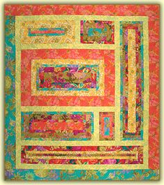 Log cabin style block quilt called Suitable for Framing