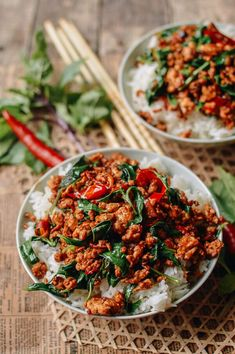 Thai Basil Chicken, Thai Basil Ground Chicken Recipe, Wok Of Life, Ground Meat Recipes, Restaurant Recipes, Seafood Recipes, Asian Recipes, Thai Basil Recipes, Chicken