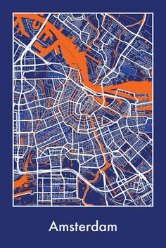 12 Stylized Maps That Express The Beauty Of Cities Viewed together, these colorful and impressionistic maps depict the organic, evolving nature of the urban landscape. Map Design, Graphic Design, Amsterdam Map, Amsterdam Netherlands, Netherlands Map, Wall Maps, City Maps, Urban Landscape, Map Art