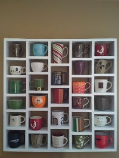 Schaaf House: The coffee cup rack how to! Schaaf House: The coffee cup rack how to! Coffee Cup Rack, Coffee Mug Display, Coffee Shop, Coffee Cups, Coffee Cup Holders, Coffee Mug Storage, Joe Coffee, Sweet Coffee, Coffee Lovers