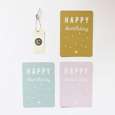"""° 5.50 €° 3 Cartes postales """"HAPPY birthday"""".° VIEIL OR   ROSE POUDRÉ   VERT MENTHE.° CINQMAI © CRÉATION.° 10x15 cm.° Coins arrondis.° Tirage professionnel sur papier 300 gr de haute rigidité.° Verso pour écrire, un mot, une adresse.° (Pour ajouter au panier, cliquer sur """"Add to Cart"""")."""