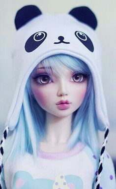 bjd So kawaii😆🐼 Manga Kawaii, Kawaii Doll, Kawaii Anime Girl, Anime Art Girl, Panda Anime Girl, Manga Anime, Pretty Dolls, Cute Dolls, Girl Cartoon