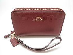 Coach Bramble Double Zip Phone Wallet Wristlet Clutch Metallic Cherry 53443