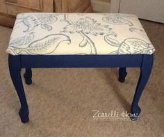 Zarrelli Home  Footstool Revamp: ASCP- Napoloenic Blue  http://zarrellihome.blogspot.com/2013/06/quickest-re-do-ever.html