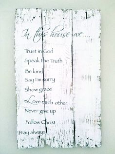 "Rustic Vintage Shabby Chic Salvaged Hand painted Crate Wood Sign Wedding Home decor Love Winter Christmas "" House Rules """