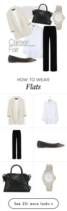 """""""Career Fair"""" by juststeene on Polyvore featuring mode, Banana Republic, Clover Canyon, Zara, J.Crew, DKNY et FOSSIL"""