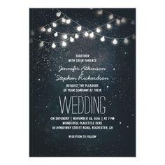 string lights and night sky stars wedding invites