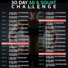30 Day Ab & Squat Challenge - Fitness Training Workout Lunges
