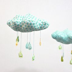 Items similar to Polka Dot Rain Cloud Mobile - Fabric Nursery Decor - in turquoise blue, yellow, teal, apple green, and white on Etsy Mobiles, Gift Wrapping Bows, Cloud Mobile, Rain Clouds, Idee Diy, Blue Polka Dots, Nursery Decor, Nursery Ideas, Teal Nursery