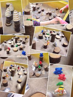 """""""Goldilock's Forest"""" in the sand tray (from Stimulating Learning with Rachel) Traditional Tales, Traditional Stories, Literacy Activities, Activities For Kids, Nursery Activities, Sand Tray, Water Tray, Block Area, Goldilocks And The Three Bears"""