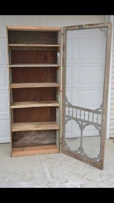 For those of us who don't have a pantry, we can make one by attaching a vintage door to a book case!