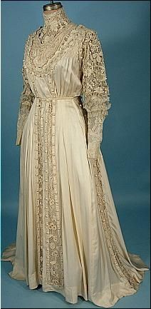 High collared lace Edwardian dress