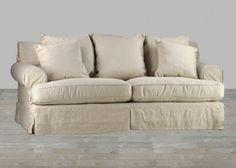 Upholstered Grey Linen Sofa #SilverCoastCompany