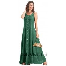 Green Jade Naveen Gypsy Flare Gothic Empire Long Maxi Sun Dress Large