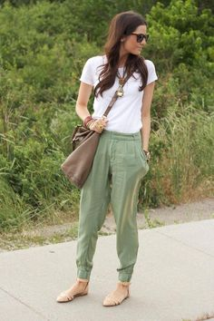 Pants and sandals