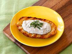 Eggplant Tahini Basil Crostini #healthy #appetizer #recipe