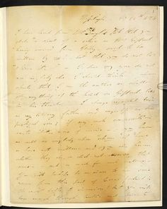 Byron's letter to John Murray showing the signs of having been baked in transit for the purposes of disinfection Lord Byron, Letter, Signs, Reading, Hair, Novelty Signs, Word Reading, Reading Books, Signage