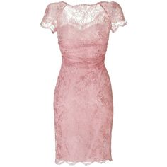 Pre-owned Emilio Pucci New Pink Draped Lace Overlay Dress (€490) ❤ liked on Polyvore featuring dresses, short dresses, new pink, lace overlay cocktail dress, shirred dress, ruched cocktail dress and rouched dress