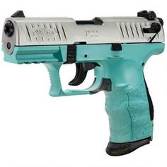 "Walther P22 Semi Auto Pistol 22 LR 3.4"" Barrel 10 Rounds Polymer Frame Nickel/Angel Blue"