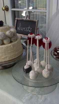Wedding cake pops, so sweet! On my diy cake stand (bowl and plate glued)