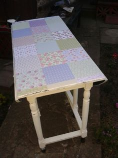 stunning vintage patchwork table upcycled by tjs hearts and crafts x Granny Chic, Recycled Furniture, Vanity Bench, Upcycle, Restoration, Recycling, Shabby, Hearts, Bespoke