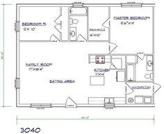 ... Barndominium Ideas, 30X40 House Plans, Barndominium Floor Plan, 30X40 2 bed 2 bath