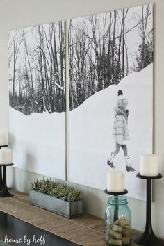 How do you decorate a large wall without painting? This roundup of DIY wall decor ideas for large walls has 60 ideas for large wall decor you can make yourself, on a budget, including using engineer prints for DIY wall decor.