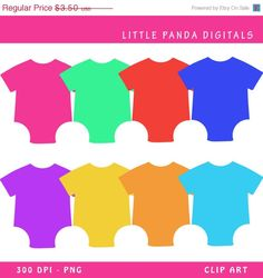 50 off  Baby Onesie Digital Clip Art  by LittlePandaDigitals, $1.75