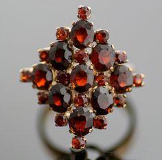 Vintage Garnet Ring - 14k Gold and Garnet Cluster Ring. $850.00, via Etsy.