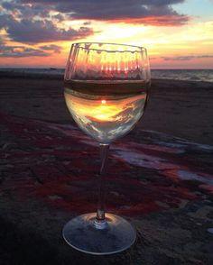 Hat Rock ,Port Austin.sunset in a glass pure mi  site