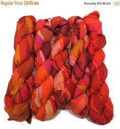 SALE Huge Premium Sari Silk Ribbon, Irredescent Flamboyant Orange