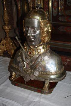 Relic of Saint Sebastian with his brain pan in church St. Sebastian in Ebersberg, Bavaria, Germany