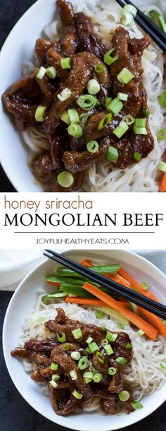 Honey Sriracha Mongolian Beef with Rice Noodles | Recipe