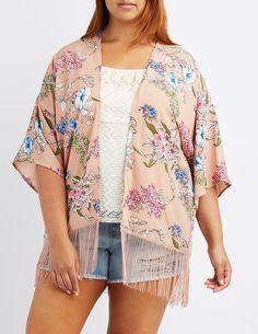 Plus Size Floral Fringe-Hem Kimono   Charlotte Russe