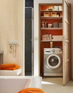 Not in the bathroom, but replace downstairs loo with washing machine and shelving Laundry Room Organization, Laundry Room Design, Integrated Washing Machines, Small Washing Machine, Apartment Bathroom Design, Downstairs Toilet, Laundry Closet, Cottage Interiors, Closet Bedroom