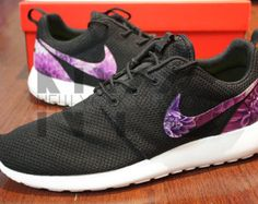 Nike Roshe One Sandales plates imprimées Noir Noir