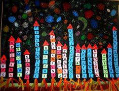 5o - 7o ΝΗΠΙΑΓΩΓΕΙΑ ΤΥΡΝΑΒΟΥ: ''Το όνομά μου στον ουρανό..'' Class Projects, In Kindergarten, Pre School, Classroom Decor, Preschool Activities, Crafts For Kids, Letters, Blog, Early Education