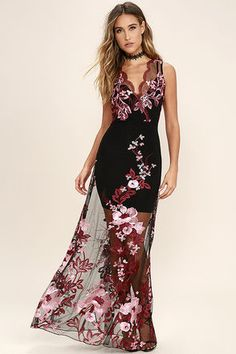 Guests will line up to greet you when you arrive in the Work the Bloom Wine Red and Black Embroidered Maxi Dress! Sheer black mesh is artfully adorned in wine red and pink floral embroidery as it shapes a sleeveless, surplice bodice, with scalloped detail. Maxi skirt. Hidden side zipper.