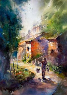 Gorgeous Urban Landscape Watercolor Paintings by Lin Ching Che – Cube Breaker Watercolor Architecture, Watercolor Landscape, Landscape Paintings, Art Aquarelle, Watercolor Artists, Watercolour Paintings, Urban Landscape, Traditional Art, Painting Inspiration