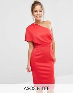 ASOS Petite | ASOS PETITE One Shoulder Scuba Deep Fold Midi Dress with Exposed Zip