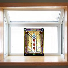 24-inch High Stained Glass Geometric Window Panel